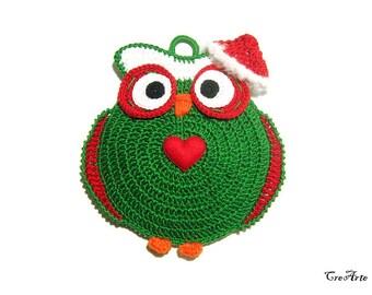 Christmas crochet owl potholder, handmade potholder, presina gufo di Natale all'uncinetto