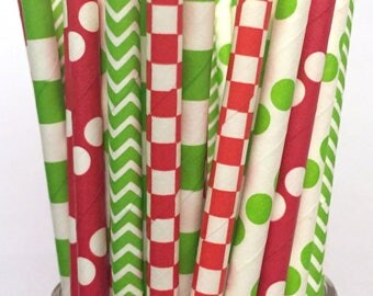 2.75 US Shipping -Christmas Paper Straws - Green/Red Christmas Straws - Cake Pop Sticks - Drinking Straws