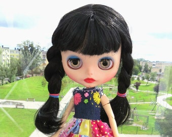 SALE!!! Custom Neo factory Blythe doll with Pure Neemo Body, ooak, cce - black long hair