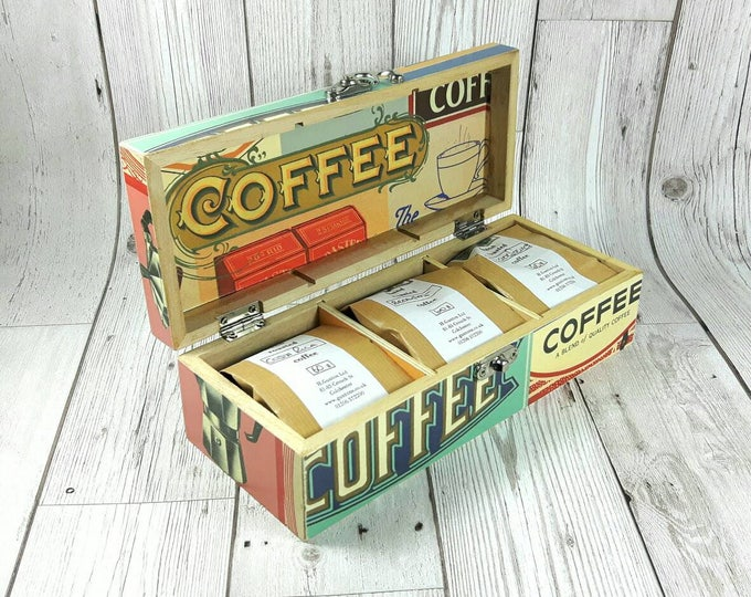 Featured listing image: Gorgeous Coffee Caddy with 3 packs of freshly ground Artisan Coffee, perfect for Christmas or Birthdays