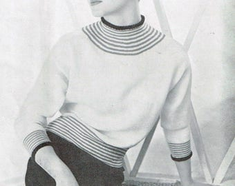 """Vintage Women's Knitting Pattern - """"Norelle"""" sweater or pullover - 50s - instant download PDF - 1950s bat wing sweater pattern"""