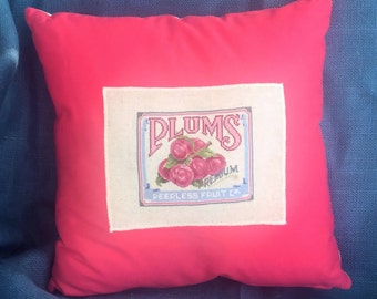 Handmade Linen Pillow Cover - Cottage Pillow - Cross-Stitched Plum Crate Ad - Glamping Decor - Gift for Her - Cottage Chic - Plum Fruit