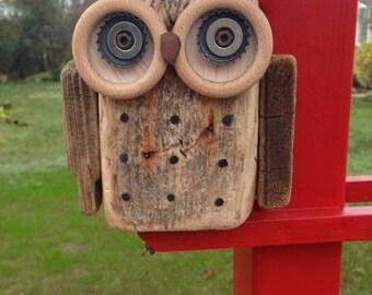 Wood OWL Driftwood OWL wood recycling ' art deco forest wooden Driftwood Art Driftwood