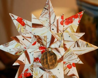 Origami Vintage Autumn Cattails Wheat And Berries Triple Layer Star Hanging Ornament