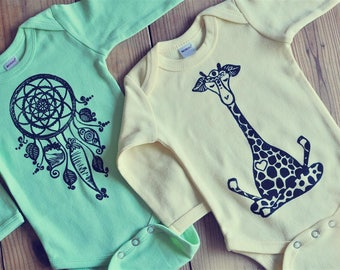 Yoga baby, Winter bodysuit, Long sleeve onepiece, Boho baby outfit,  Bohemian baby, Winter baby, Boho baby boy or girl, READY TO SHIP