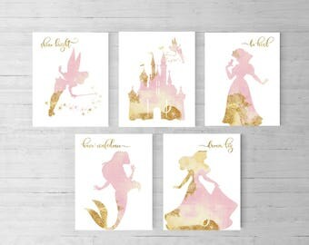Disney princess nursery, Set of 5, Princess party, Disney Quotes, Princess theme, Baby shower, Gift for daughter, little girls room, TINK