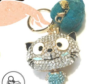 Blue Rhinestone Cat keyring, Felted Heart Bag Dangle,Needle Felted Heart and Cat Handbag Dangle, Keyring Bling Gift, Free local Shipping