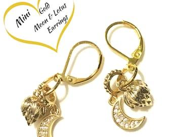 Gold Miniature Moon and Lotus Earrings, Cubic Zirconia Moon Earrings, Every Day Earrings, Gold Lotus Earrings, On Trend Gift Earrings