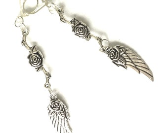 Tiny Angel Wings Extended  Drop Earrings, Antique Silver Earrings, Sweet Gift for Her, Rose and Wings Earring Gift, On Trend Earring Gift