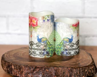 Blue Peacock Pillar Candle Gift Set, Flameless Candle With Peacock Print, Mothers Day Gift For Mom, Peacock Gift For Her