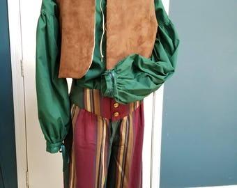 Renaissance Pirate:  Breeches  - Shirt - Westcot - (Med) - Burgundy/Green/Lt Brown