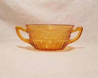 AMBER CANDY SUGAR Nappy Dish Bowl Serving  2 Handles Floral Honey Vintage Retro