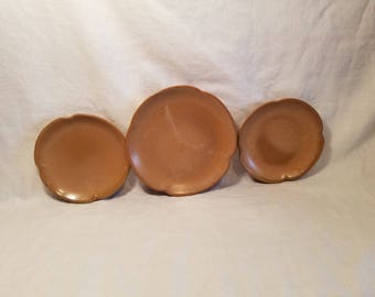 FRANKOMA PLAINSMAN PLATE set of 3 Saucer 5G 5E Brown Bread & Butter Plate Pottery Country Kitchen Farmhouse Rustic Vintage