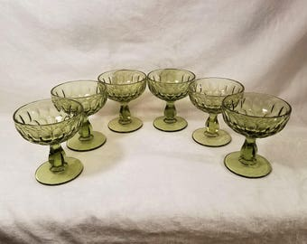 FENTON CHAMPAGNE SHERBET Colonial Green Glass Dessert Dish set of 6 Thumbprint Barware Glassware Dessert Fruit Vintage Retro
