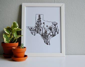 Texas print, Texas floral, Texas decor
