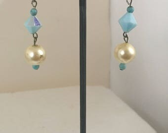 Blue and off white bead dangle hook earrings