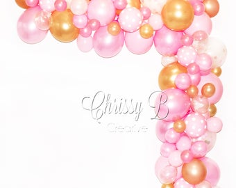 DIY Balloon Garland Kit in Pink and Gold - Makes a Full 12 Foot Garland - Baby Shower or Party Decor - Photo Shoot Backdrop