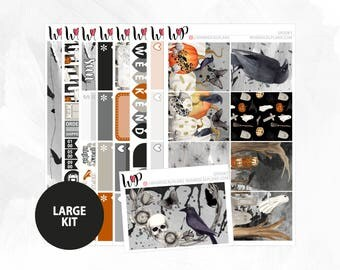 Spooky Large Kit | Full Boxes Checklists Functional Boxes Headers Sidebar Extras Washi | Matte Glossy Planner Stickers