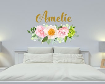 Girl Name Floral Wall Decal Nursery Vinyl Sticker Personalized Name Girls  Decals Flowers Rustic New Baby Part 39