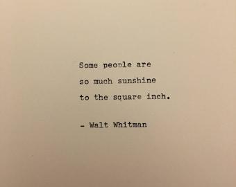 Walt Whitman love quote hand typed on antique typewriter gift girlfriend boyfriend husband wife wedding present birthday valentines