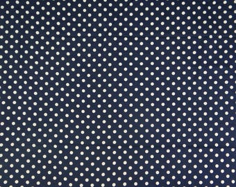 "Navy Blue Designer Polka Dot Printed Cotton Fabric, Decorative Fabric, 43"" Inch Upholstery Fabric By The Yard ZBC6978A"