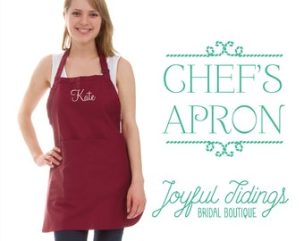 SALE Personalized Chef's Apron, Multiple Sizes, Bartender's Apron, Embroidered Apron for Cooking Bib, Set of Bridesmaid Gift, Wedding Gift