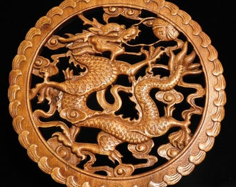 Chinese dragon wood carving roundel