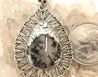 Dendritic Opal Pendant Necklace