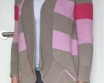 Knitted cardigan in pink and beige - Striped cardigan wool