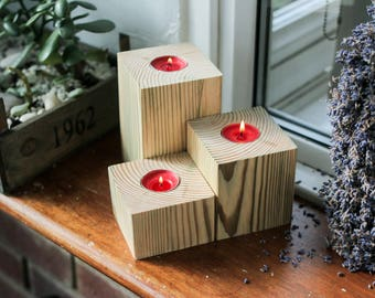 Wooden Square tea-light candle holders - Set of 3