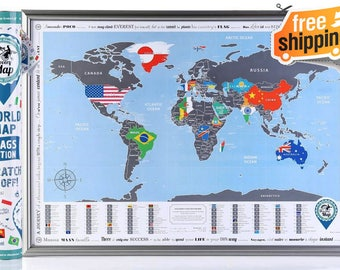 World Map with Scratch off. ORIGINAL - from Manufacturer. Awesome Gift for Travellers. Flags Edition, Tube Packaging, English