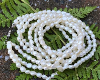 Vintage Cultured Rice Pearls Triple Strand Choker Necklace