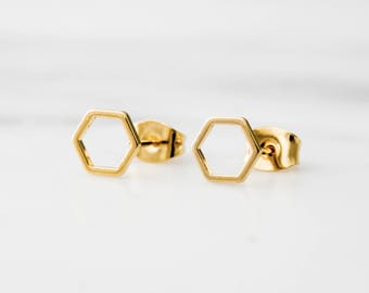 Hexagon Earrings / Gold Hexagon Stud Earrings / Geometric Earrings / Dainty Hexagon Earrings