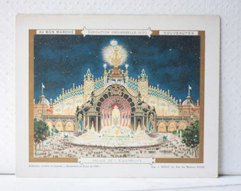 Antique Lithograph for Au Bon Marche, Paris, Palais de l'Electricité