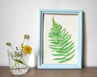 Original watercolor painting| Botanical painting| Fern painting| Plant painting| Small painting| Fern
