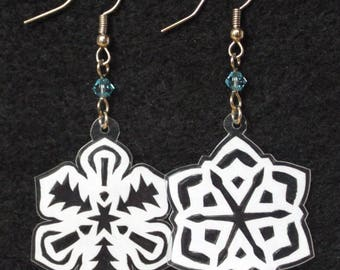Hand-Cut Paper Snowflake Earrings Candles and Trees