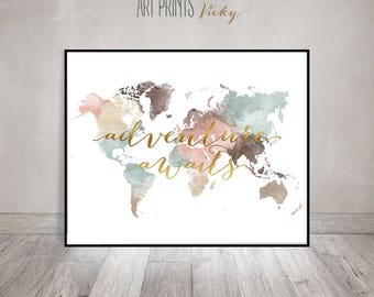 Adventure awaits print, World map poster, Large world map, World map wall art, Travel map, Travel decor, faux gold, Gift, ArtPrintsVicky