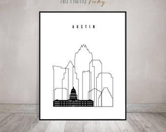 Austin print, minimalist black & white poster, Texas cityscape, travel poster, city prints, typography art, digital print, ArtPrintsVicky.