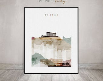 Athens Greece Print Watercolor Skyline Poster | ArtPrintsVicky.com