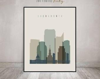 Sacramento art print, Poster, Wall art, Sacramento skyline, cityscape, California, travel, wall decor, Gift, Home Decor, ArtPrintsVicky