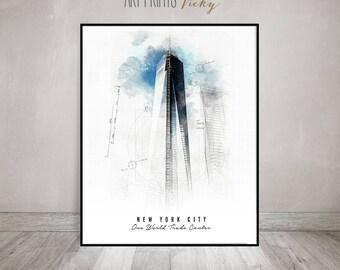 New York City One World Trade Center Building Poster Contemporary Art Print   ArtPrintsVicky.com