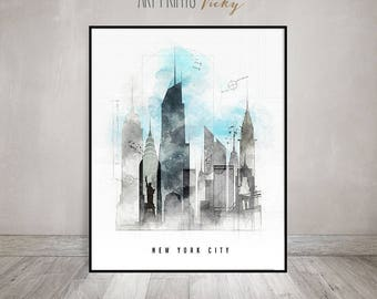 New York City skyline poster contemporary art print   ArtPrintsVicky.com