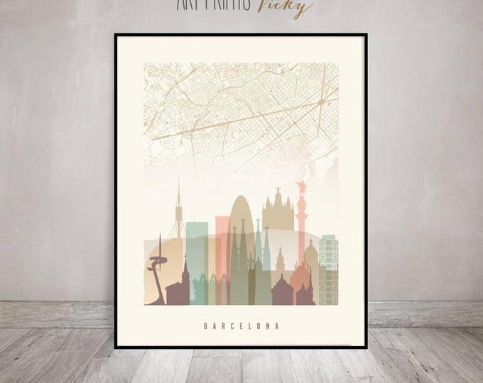 Barcelona print, Barcelona skyline, Barcelona map poster, Wall art, City poster, Travel decor, Home Decor, Wall Decor, ArtPrintsVicky