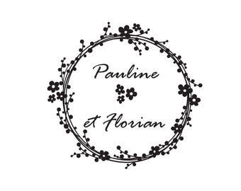 Tampon mariage Pauline et Florian sur mesure, tampon mariage personnalisé, tampon vintage bois pour vos papeteries de mariage.