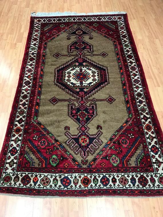 "4'4"" x 7'6"" Persian Hamadan Oriental Rug - 1950s - Hand Made - 100% Wool"