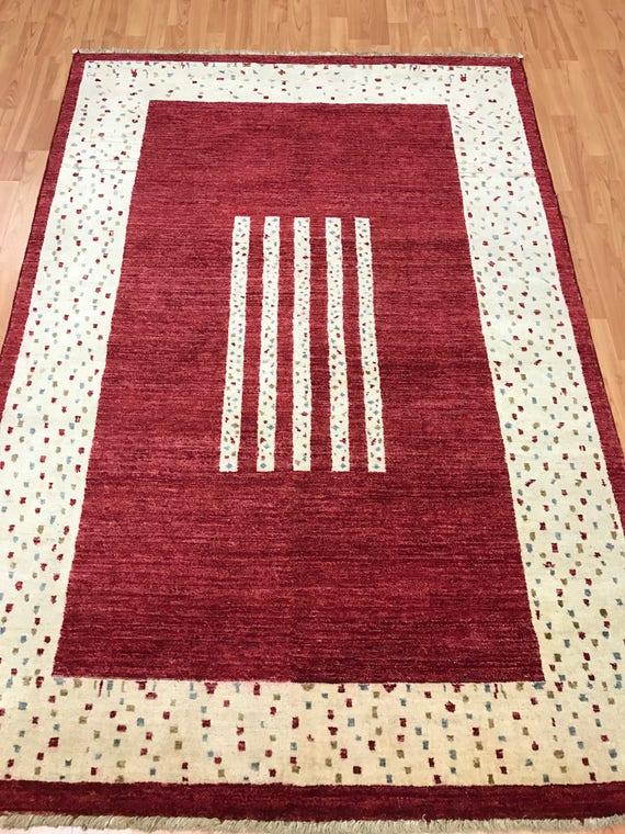 "4'4"" x 6'5"" Modern Pakistani Kazak Oriental Rug - Hand Made - 100% Wool"