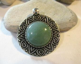 Green Aventurine Pendant | Stone Necklace | Aventurine Cabochon | Cabochon Necklace | Stone Jewelry | Stone Cabochon | Aventurine Necklace