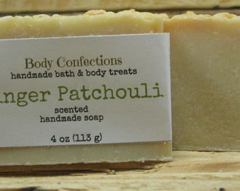 Ginger patchouli scented  handmade cold process soap