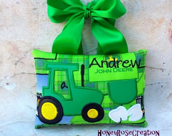 Tractor tooth fairy pillow.Personalized tooth fairy pillow.