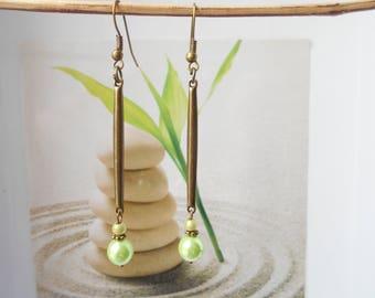 Earrings bronze green Pearl